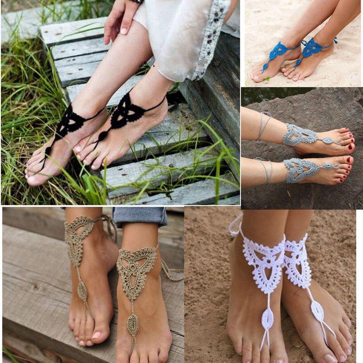 Neue Sandalen barfuß häkeln Fuß Fußkette stilvollen Schmuck Baumwolle Armband Ke