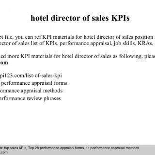 Interview questions and answers – free download/ pdf and ppt file hotel director of sales KPIs In this ppt file, you can ref KPI materials for hotel directo. http://slidehot.com/resources/hotel-director-of-sales-kpis.56528/