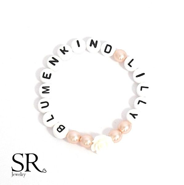Accessoires – Blumenkind Armband Blumenmädchen Geschenk Hochzeit apricot creme …