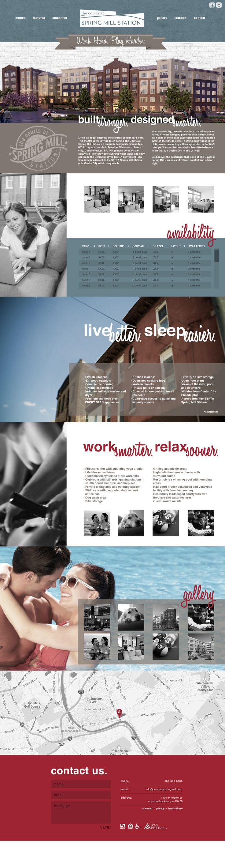 Concept For Apartment Complex Website Done As A Single Scroll Page With  Moving Header, Utlizing