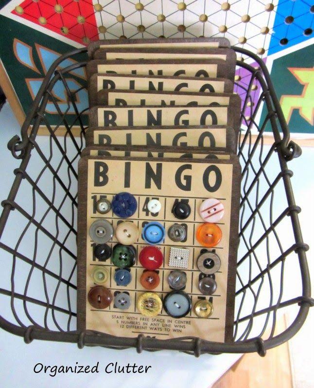 Wire Basket with Bingo Button Cards www.organizedclutterqueen.blogspot.com