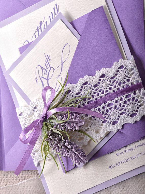 custom listing 100 lavender wedding invitations lace bally band wedding invitations vintage