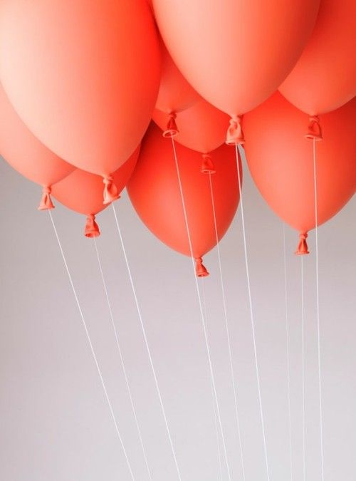 Source: highheelsandmoccasinsOrange, Birthday, Inspiration, Balloons Parties, Red Balloons, Spring Colors, Coral Balloons, Peaches, Coral Wedding