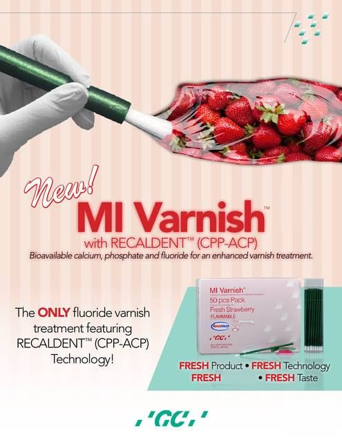 #MIVarnish with recaldent (CP-ACP)  The Only fluoride varnish treatment featuring RECALDENT (CP-ACP) Technolgy  For more information Call Toll free: 1800-425-3132