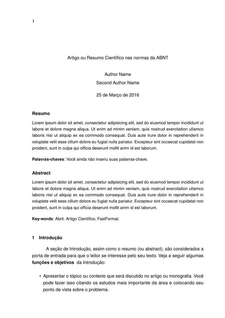 Artigo ou Resumo Científico nas normas da ABNT