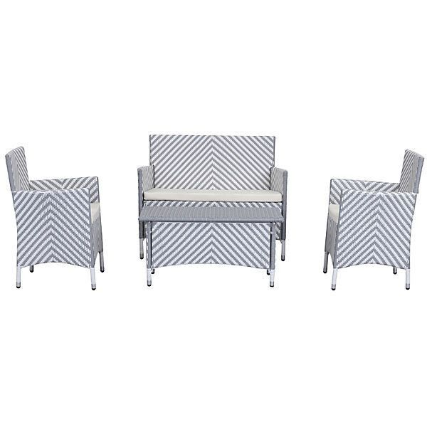 Ceuta 4-Pc Outdoor Set Gray Outdoor Lounge Sets ($699) ❤ liked on Polyvore featuring home, outdoors, patio furniture, outdoor loungers & day beds, grey patio furniture, outdoor garden furniture, faux wicker patio furniture, outdoor patio furniture and gray patio furniture