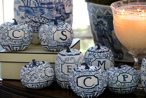 """From Karolyn at The Relished Roost, these unbelievable hand-painted Chinoiserie pumpkins. Aren't they darling? (The best part? They are faux, so will last season after season.)"":"