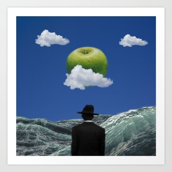 Art available as a wall clock, throw pillow, canvas print and more at https://society6.com/product/apple-magritte_print?curator=confusionends #art #society6