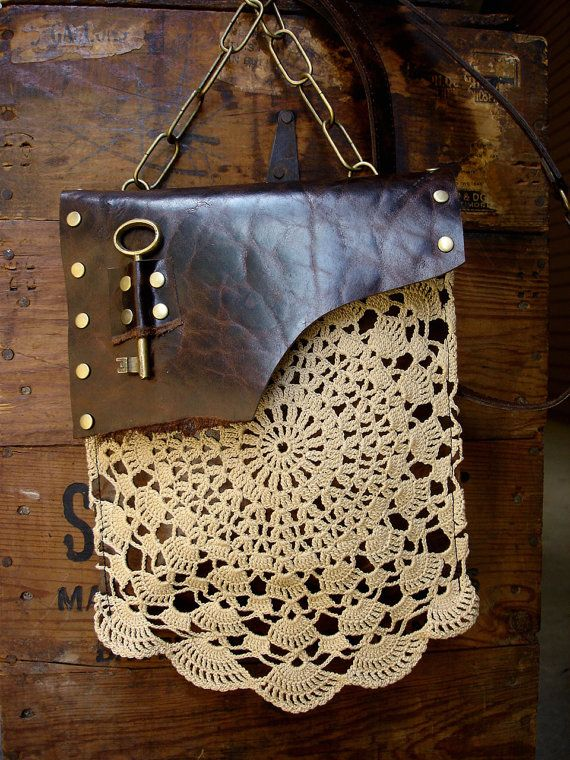 Boho Leather Festival Bag with Crochet Lace Doily and Antique Key - MADE TO ORDER - Back Pocket Style