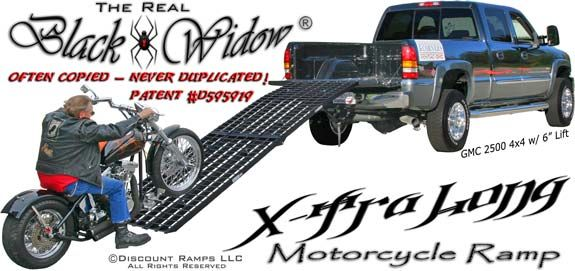 Black Widow Motorcycle Ramp XTRA LONG 12 FT MODEL, $550 for safely loading bikes and wheelers into lifted trucks