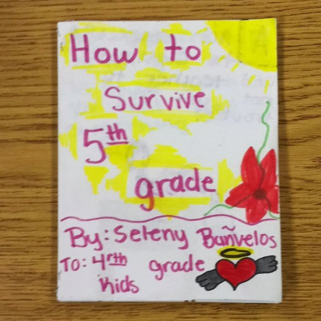 A,b, c book on how to survive 5th grade! Put on desks for next years students!! - end of year activity