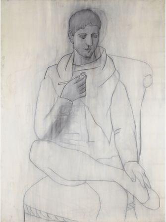 Pablo Picasso. L'uomo con la pipa, olio penna e inchiostro su tela, Parigi maggio 1923. Collezione privata.