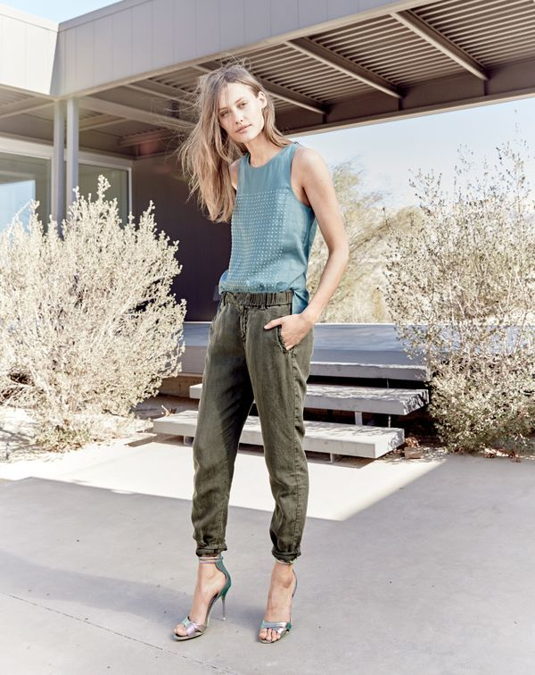J.Crew women's embellished linen tank and slouchy boardwalk pant in dark fatigue.