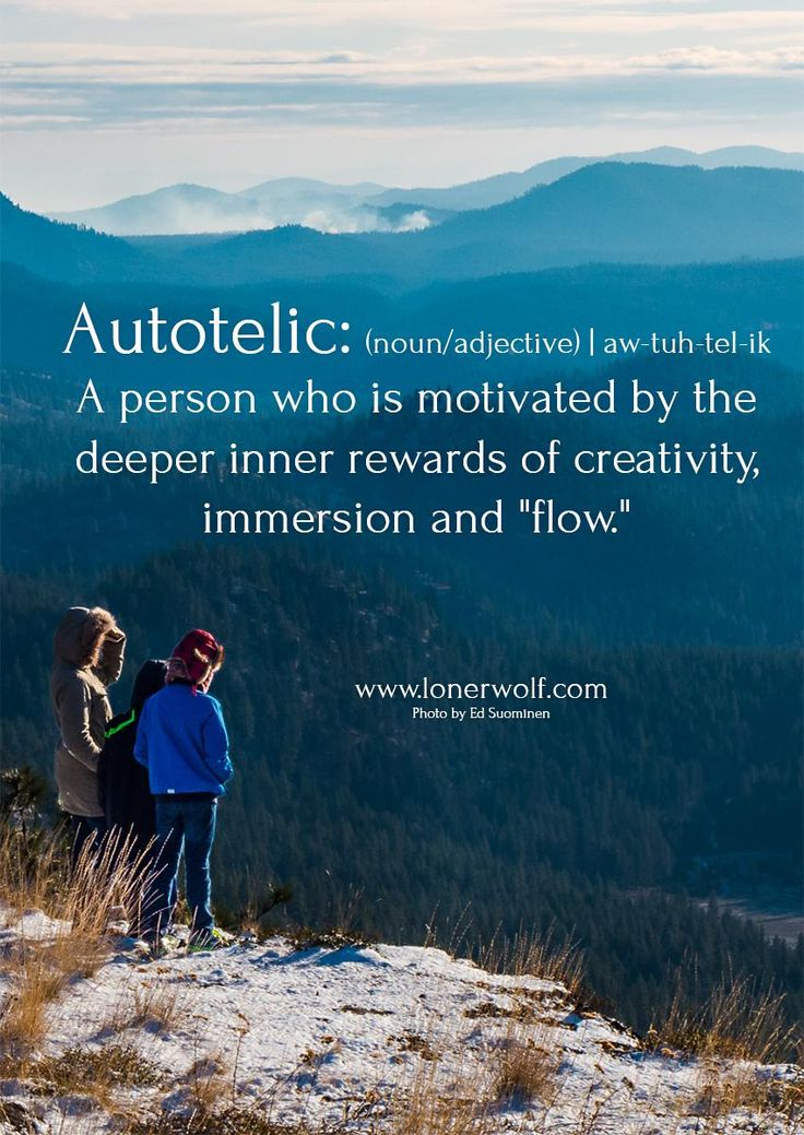 Autotelic (n/adj) ..a person who is motivated by the deeper inner rewards of creativity, immersion and flow
