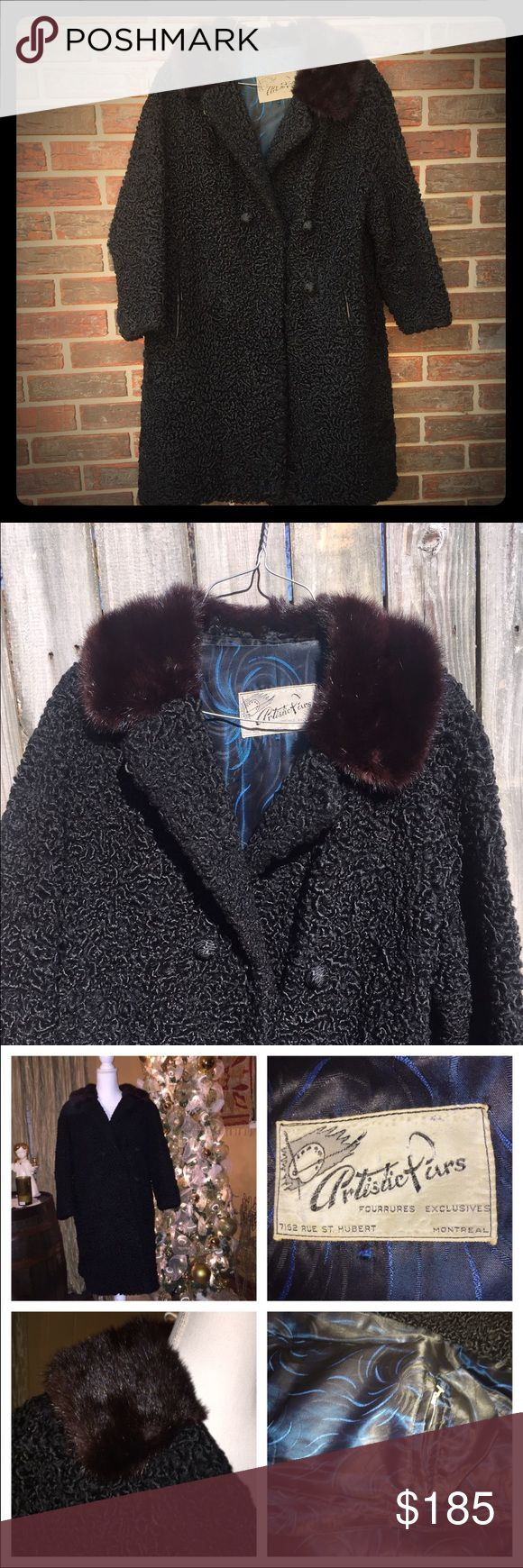 """✨Vintage Persian lamb fur coat✨ Add some glam to your wardrobe✨. Vintage, heavy Persian black lamb fur coat with brown mink collar (50s-60s). Fur has tight, curly pattern. Two hidden hook closure on front. Front pockets accented with a strip of leather at hand area. Satin type lining with a pretty blue design. One inside pocket. One small imperfection (see photo). Inside seam on right arm has came apart about 2"""". Can't be seen when worn & can easily be stitched. Coat is in overall excellent…"""