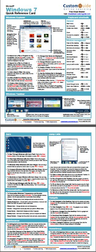 Free Windows 7 Quick Reference Card. http://www.customguide.com/cheat_sheets/windows-7-cheat-sheet.pdf