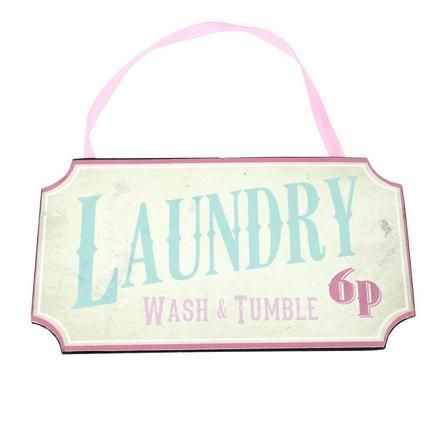 Candy Rose Collection 'Laundry Wash and Tumble' Plaque | Dunelm