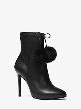 Remi Pom-Pom Leather Ankle Boot