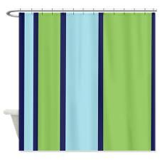 Navy Blue and Green Striped Shower Curtain