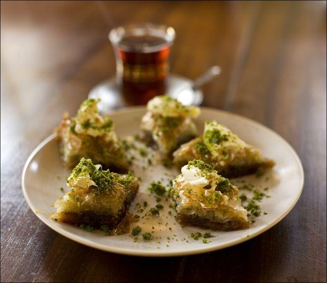 baklava and turkish tea