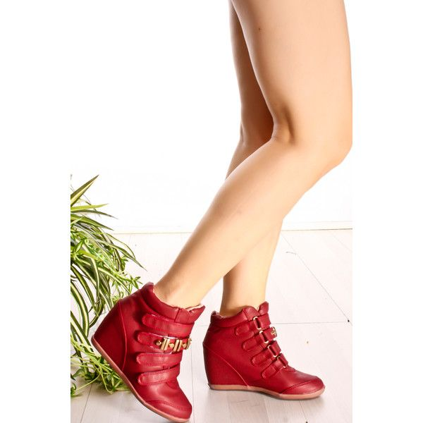 Red faux leather velcro straps single sole wedge sneaker ($13) ❤ liked on Polyvore featuring shoes, sneakers, red, wedge trainers, red wedge sneakers, wedged sneakers, vegan shoes and high heeled footwear