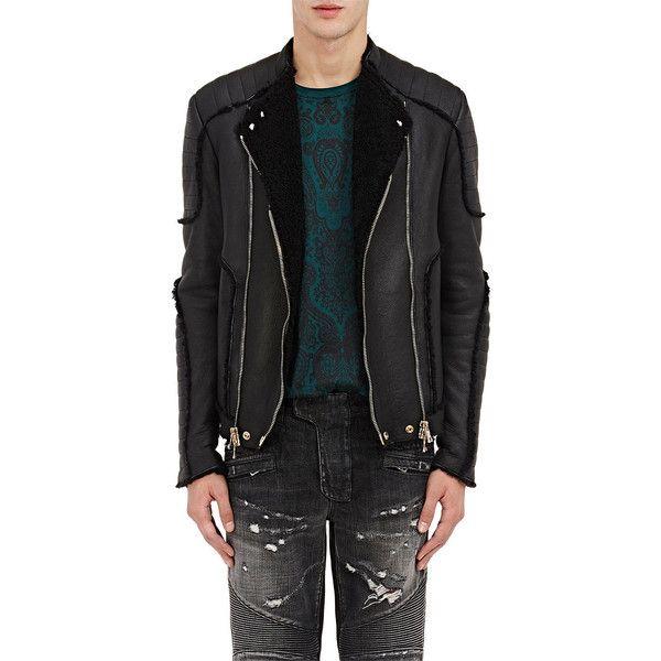 Balmain Men's Shearling Classic Moto Jacket ($5,470) ❤ liked on Polyvore featuring men's fashion, men's clothing, men's outerwear, men's jackets, black, mens motorcycle jackets, mens zip up jacket, mens biker jacket, mens rider jacket and mens shearling jacket