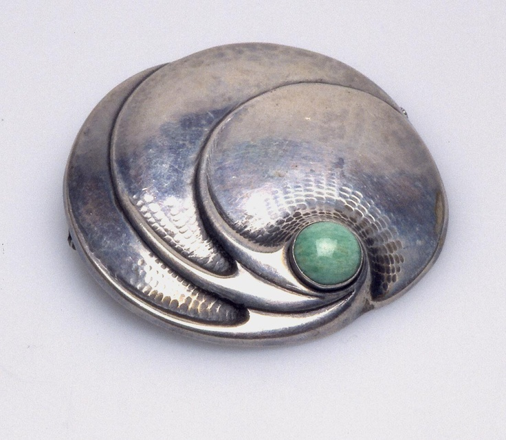 Fons Reggers silver and turquoise (?) brooch.
