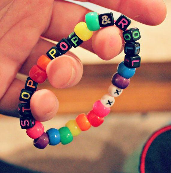 Stop Pop & Rolll xx Neon Rainbow Kandi Bracelet by KandiKweens