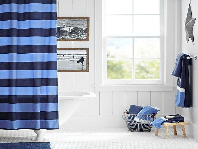 I love the pbteen rugby stripe bathroom on boys for Boys rugby bedroom ideas