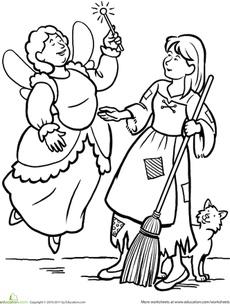 Cinderella Coloring Page Worksheet