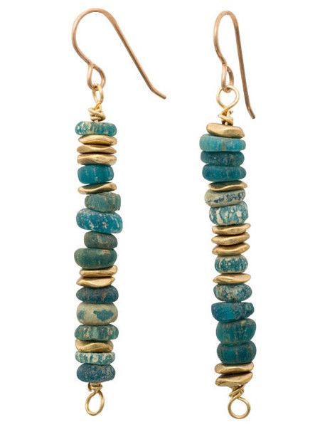Shades of turquoise ancient glass with brass accent earrings. Bronze ear wires. 2 inches long