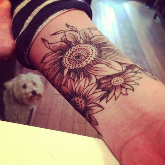 """I absolutely want sunflowers on my right wrist with the word """"Native"""" along side it!"""