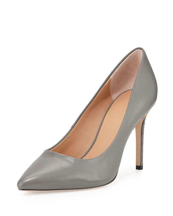 Courtney Leather Pump, Gunmetal (Grey), Size: 39.0B/9.0B - Halston Heritage