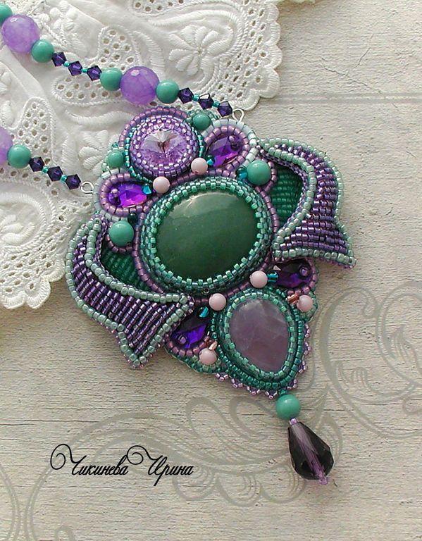 "Купить Кулон ""Виолетта"" - сиреневый, зеленый, кулон, вышитый кулон, аметист, Чикинева Ирина, авантюрин"