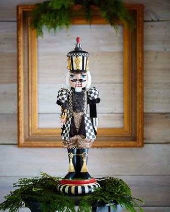 Paint an after Christmas cheapie to look like an expensive collector's item   Courtly Check Nutcracker Figurine by MacKenzie-Childs at Horchow.