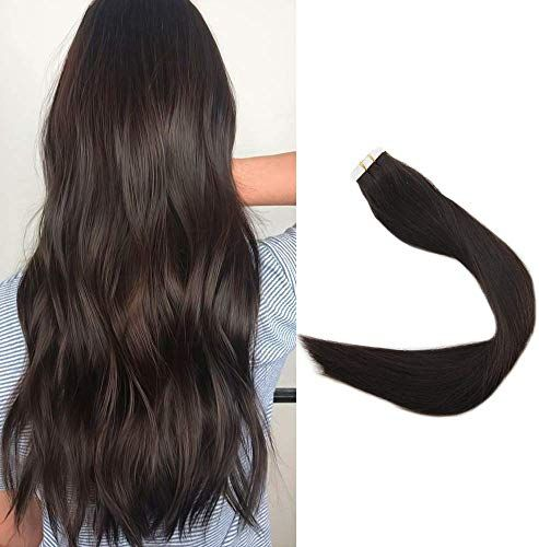 New Full Shine hair 16 20 Pieces 50g Per Package Dark Brown Color Seamless Extensions Tape Real Human Hair Skin Weft Double Side Tape Hair Extensions online