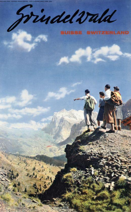 Grindelwald, Suisse, Switzerland (by Steiner Albert / 1940) Photo-montage poster by Steiner, promoting the Grindelwald area in the Berner Oberland.