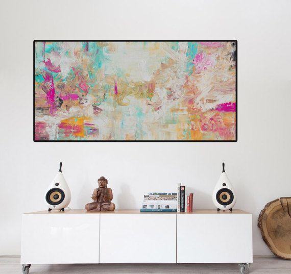 Abstracte Aqua zalm afdrukken vanuit origineel schilderij, grote abstracte schilderkunst, roze blauw afdrukken, Fine Art afdrukken, witte schilderij, afdrukken op canvas