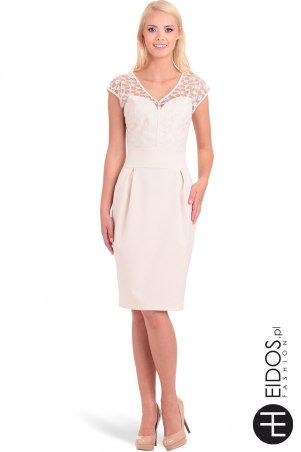 Beżowa #sukienka z koronką
