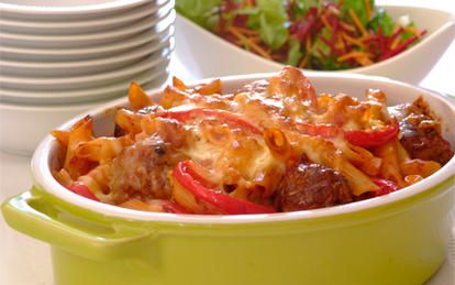 Meatball Mozzarella Pasta Bake. If your children enjoy meatballs they will be sure to love this interesting take on them – a baked pasta dish with meatballs in a tomato sauce!