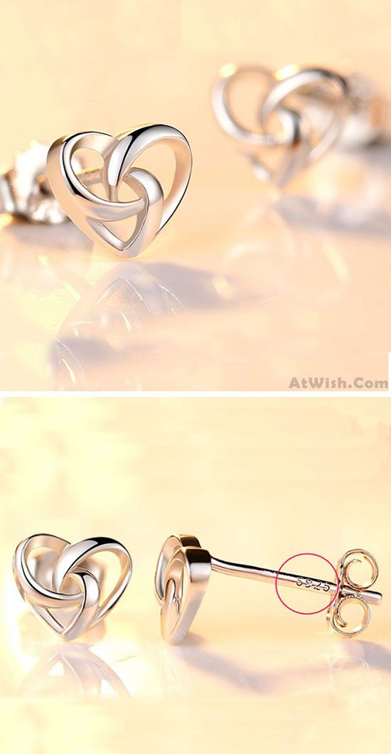 Romantic Heart-Shaped Mini Silver Polished Hollowed-out Women Earring Studs is so cute ! #silver #mini #heart #romantic #earrings