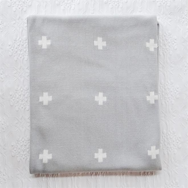 Jamie Kay Grey Cross Blanket – Large | at Talo Interiors