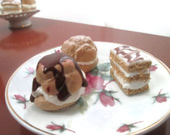 Check out American Girl Doll Food, Grace Thomas, French Desserts, American Girl Accessories, Clay Food, American Girl Dollhouse, Creme Puffs, AG Dolls on MarysRemedies