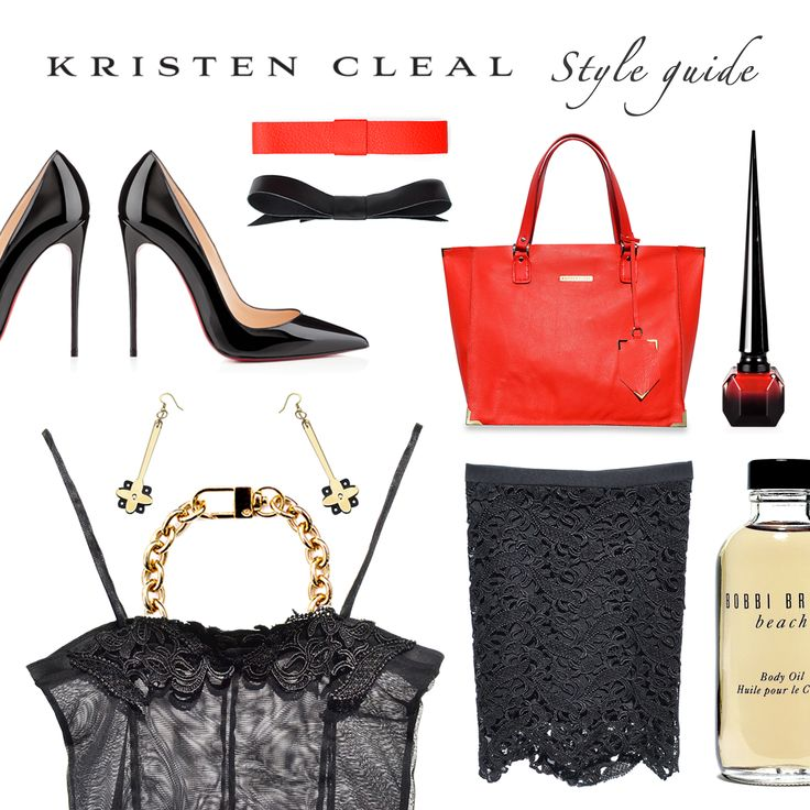 STYLE GUIDE: 100% KC NYC!  Our very first Style Guide with all our new NYC Collection products!  Moisturizing Beach Body Oil, Bobbi Brown Australia $30. Rouge Nail Polish, Christian Louboutin $60. So Kate Shoes, Christian Louboutin $815. All other products are Kristen Cleal Designs including Leather Flat Bows $29.95, Mimosa Chain Bracelet $39.95, NYC Drop Earrings $30, Madison Leather Handbag $249.95, Chelsea Skirt $89.95, Lace Camisole $79.95.