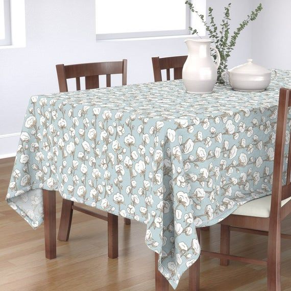 Cotton Tablecloth Farmhouse Cotton Stalk By Liz Sawyer Design Blue Modern Farmhouuse Plant Cotton Sateen Tablecloth By Spoonflower Square Dining Tables Elegant Table Pink Tiles