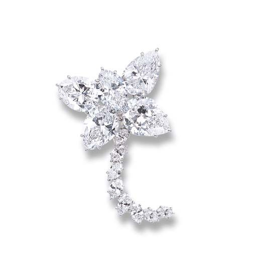 A MAGNIFICENT DIAMOND FLORAL BROOCH, BY HARRY WINSTON   The floral cluster composed of four pear-shaped diamonds weighing 6.16, 6.33, 8.21 and 8.27 carats and a marquise-shaped diamond weighing 5.27 carats, a total weight of 34.24 carats, to the detachable marquise-shaped diamond stem, mounted in platinum, 5.6 cm long  With maker's mark for Jacques Timey for Harry Winston