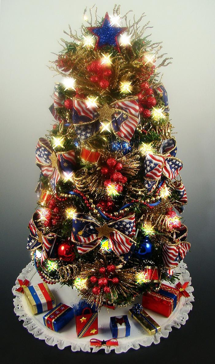 Decorated Patriotic Tabletop Mini Christmas Tree - Red ...