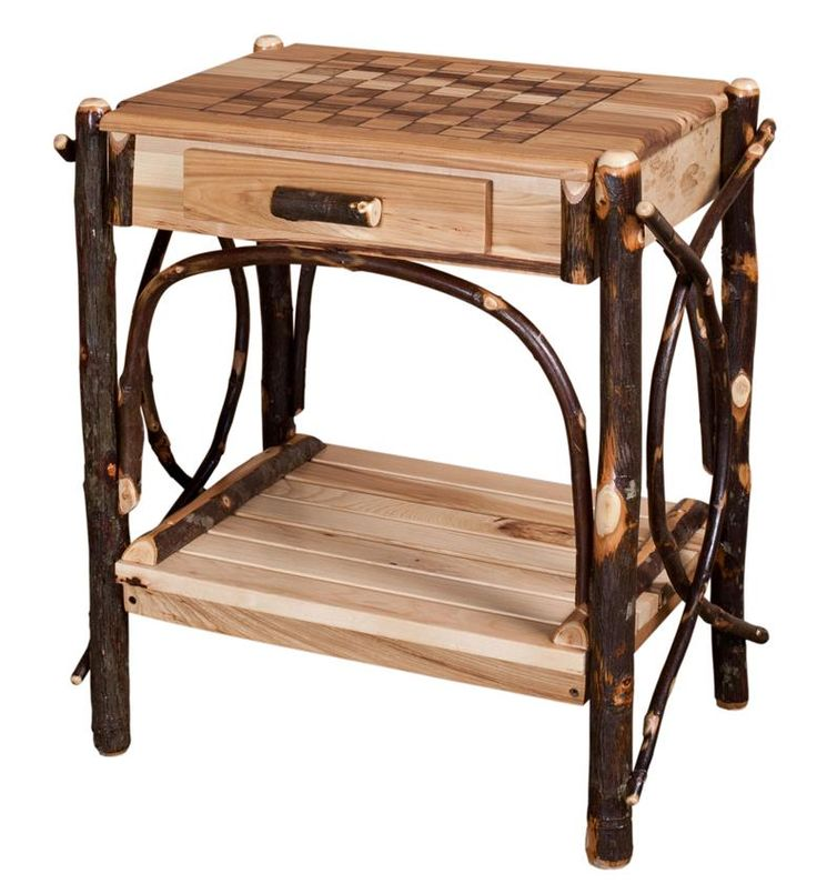 Amish Rustic Hickory Checkerboard Game Table with Drawer