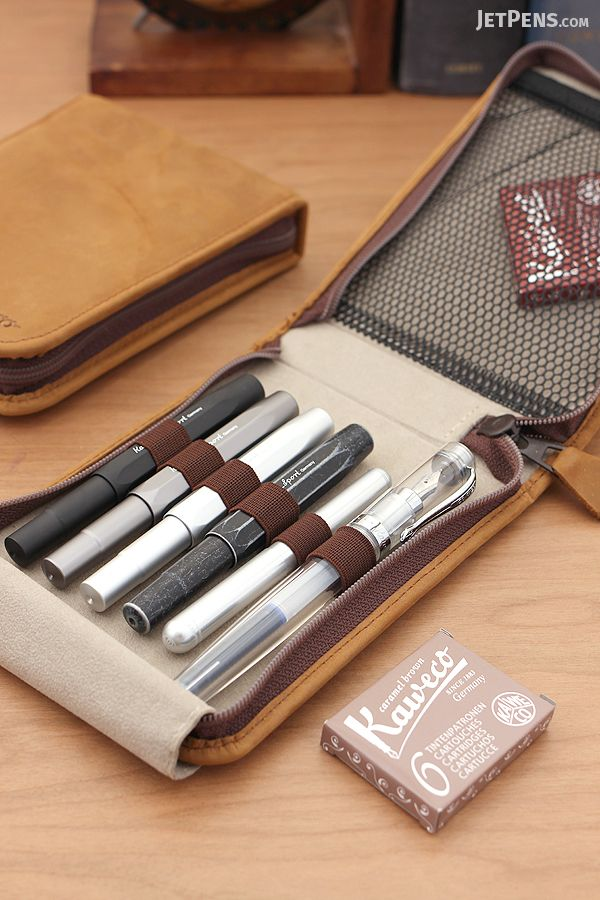 The secure elastic band, soft flap, and pocket in the Kaweco Leather Traveler's Case holds six fountain pens plus accessories.