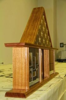 """19"""" x 25"""" Dog House Style Military Shadow Box. This box has a larger triangular area that shows more stars than a traditional display. It also has a wider display area for your medals and ribbons than a traditional dog house style display.  Free Shipping within the United States. I gladly ship to APO/FPO.   Want something custom? Just send us your ideas and we can start designing it on our computer program. We can send you a computerized picture of what your product will look like before…"""
